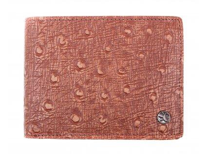 Pánská kožená peněženka Segali 753.115.2007 koňakově hnědá pštros  + koňak