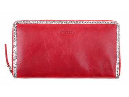 Velká kožená peněženka na zip Segali 612.06.9086 červená