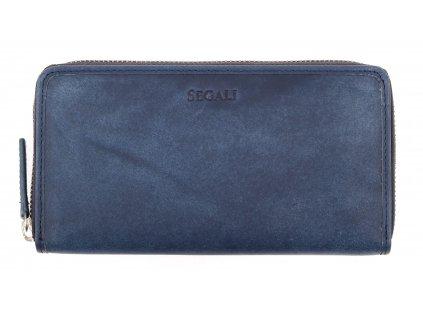 Velká kožená peněženka na zip Segali 612.06.9086 tmavě modrá