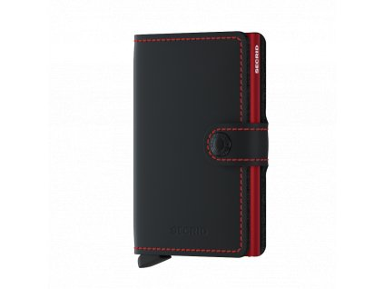 Kožené pouzdro na karty SECRID Miniwallet Matte Black-Red černá s červeným prošíváním