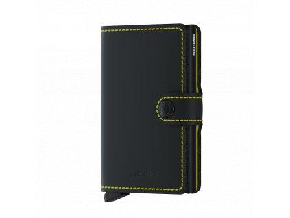 Kožené pouzdro na karty SECRID Miniwallet Matte Black-Yellow černá se žlutým prošíváním