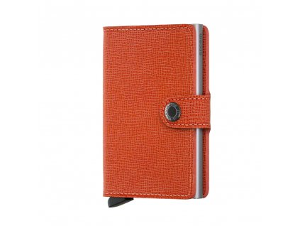Oranžová kožená peněženka na platební karty malá