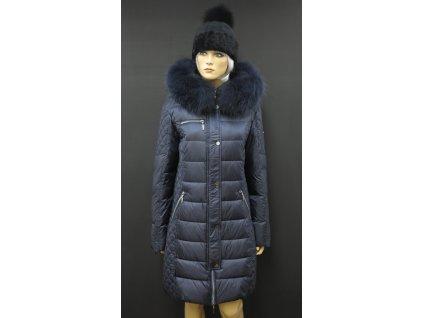 Zimní dlouhá péřová bunda s pravou kožešinou Leder Pellicce Angelika - tmavě modrá