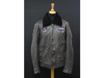 Pánská kožená bunda Gipsy Pilot - šedá