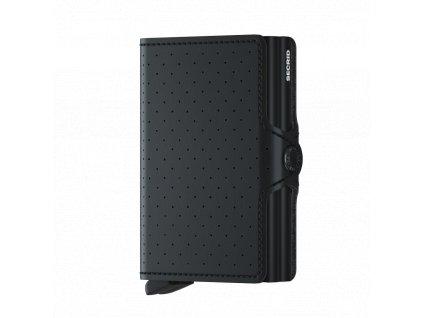 Dvojitá kožená peněženka na karty SECRID Twinwallet Perforated černá