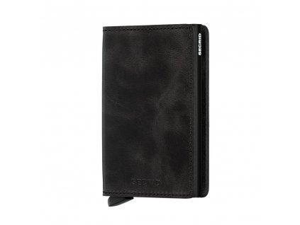 Kožená peněženka SECRID Slimwallet Vintage Black černá, vysouvací mechanismus na karty