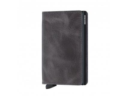 Kožená peněženka SECRID Slimwallet Vintage Grey-Black šedá s černým pouzdrem