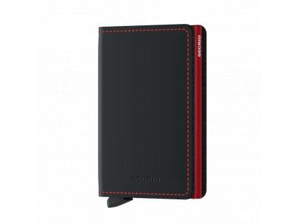 Kožené pouzdro na karty SECRID Slimwallet Matte Black-Red černé s černým prošíváním