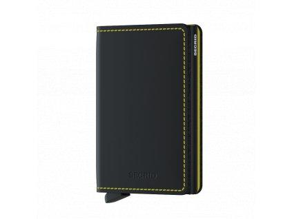 Kožené pouzdro na karty SECRID Slimwallet Matte Black-Yellow černé se žlutým prošíváním