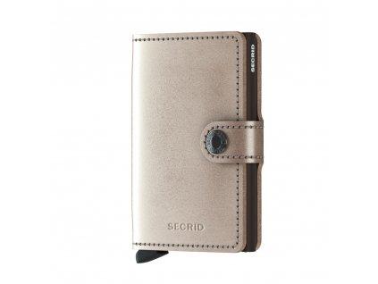 Metalická kožená peněženka SECRID Miniwallet Metallic Champagne-Brown béžová