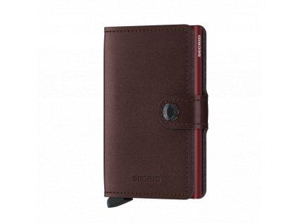 Metalická kožená peněženka SECRID Miniwallet Metallic Moro tmavě červená blýskavá