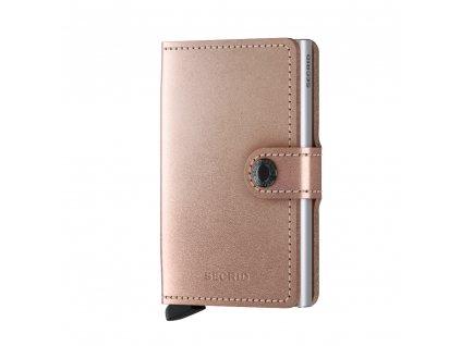 Metalická kožená peněženka SECRID Miniwallet Metallic Rose růžová