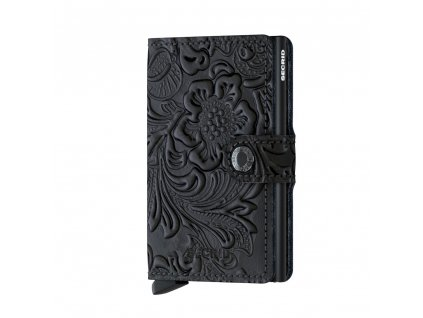 Dámské kožené pouzdro na karty SECRID Miniwallet Ornament Black černé květinové