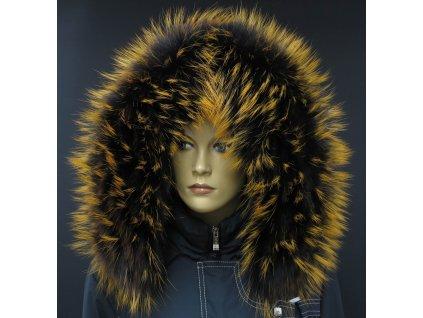 Kožešina lem / límec na kapuci z finského mývalovce 10041 Black Orange
