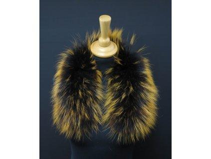 Kožešina lem / límec na kapuci z finského mývalovce 10046 Black Orange 60 CM KRÁTKÝ
