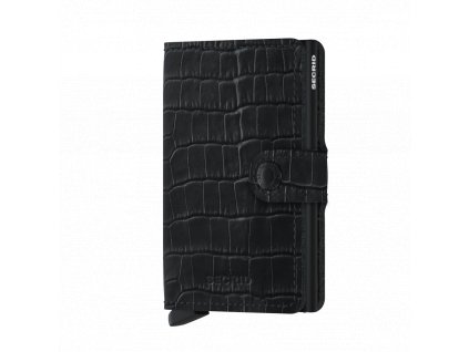 Černé kožené pouzdro na karty SECRID Miniwallet Cleo Black krokodýlí kůže