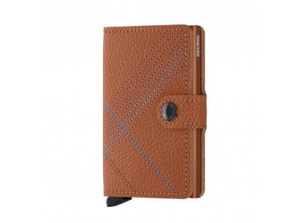 Luxusní kožená peněženka SECRID Miniwallet Stitch Linea Caramello koňaková s ozdobným prošíváním