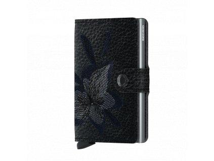 Kožená peněženka SECRID Miniwallet Stitch Linea Magnolia Black černá s výšivkou