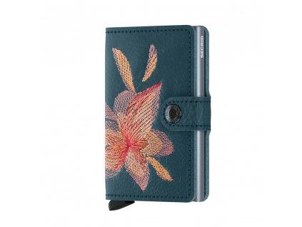 Kožená peněženka SECRID Miniwallet Stitch Linea Magnolia Petrolio petrolejová s výšivkou