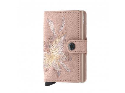 Kožená peněženka SECRID Miniwallet Stitch Linea Magnolia Rose růžová s výšivkou