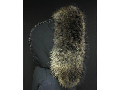 Kožešina lem / límec na kapuci z finského mývalovce 10062 Black Natur