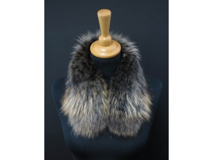Kožešina lem / límec na kapuci z finského mývalovce 10065 Black Natur 50 cm 2. jakost