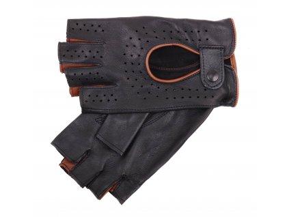 Dámské kožené řidičské rukavice 3000BP bezprstové černé s koňakovými detaily