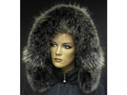 Kožešina lem / límec na kapuci z finského mývalovce 10067 Black Natur