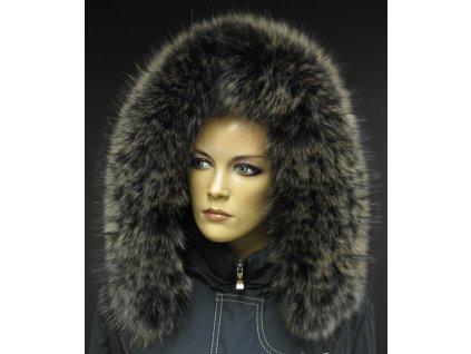Kožešina lem / límec na kapuci z finského mývalovce 10069 Black Natur