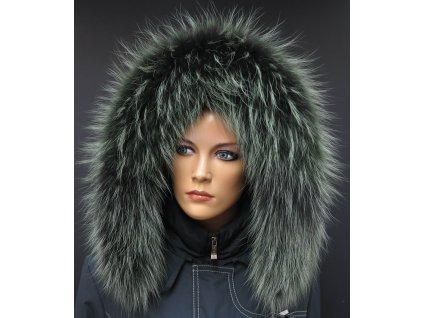 Kožešina lem / límec na kapuci z finského mývalovce 10080 Green Black 2. jakost