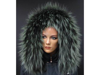 Kožešina lem / límec na kapuci z finského mývalovce 10081 Green Black 2. jakost
