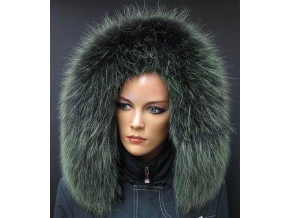 Kožešina lem / límec na kapuci z finského mývalovce 10083 Green Black