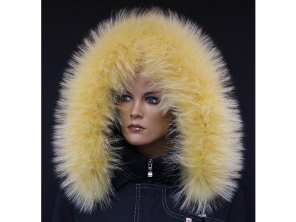 Kožešina lem / límec na kapuci z finského mývalovce 10090 ŽLUTÁ