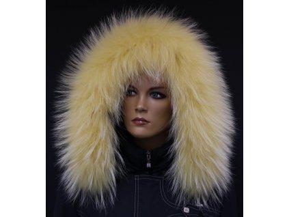 Kožešina lem / límec na kapuci z finského mývalovce 10091 ŽLUTÁ