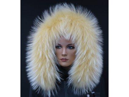 Kožešina lem / límec na kapuci z finského mývalovce 10092 ŽLUTÁ