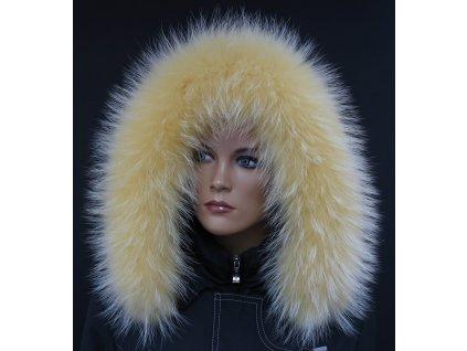 Kožešina lem / límec na kapuci z finského mývalovce 10095 ŽLUTÁ