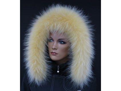 Kožešina lem / límec na kapuci z finského mývalovce 10096 ŽLUTÁ