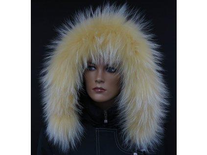 Kožešina lem / límec na kapuci z finského mývalovce 10097 ŽLUTÁ