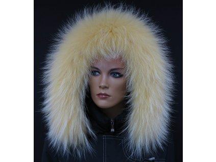 Kožešina lem / límec na kapuci z finského mývalovce 10098 ŽLUTÁ