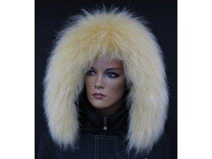 Kožešina lem / límec na kapuci z finského mývalovce 10099 ŽLUTÁ