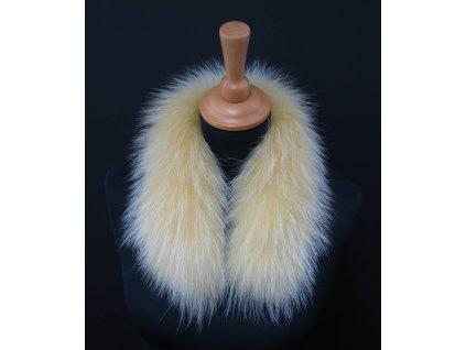 Kožešina lem / límec na kapuci z finského mývalovce 10102 ŽLUTÁ 50 CM KRÁTKÝ