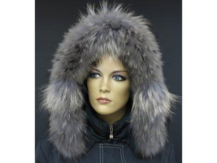 Kožešina na kapuci z finského mývalovce - 4034  SMOKE šedohnědý