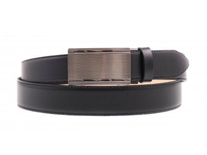 Pánský kožený opasek Penny Belts 3567 s plnou sponou AUTOMAT černý