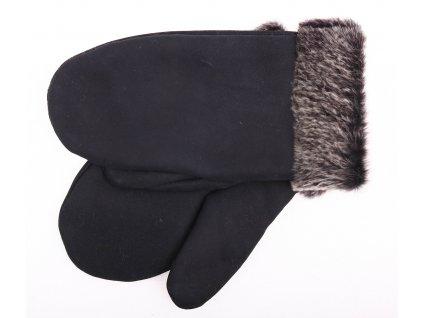 Dámské kožešinové palčáky PA85  lčerné povrch velur vlas melír