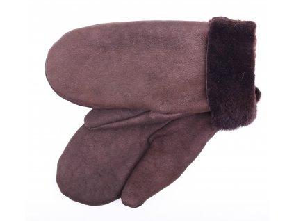 Dámské kožešinové palčáky PA86  tmavě hnědý bronz - velurový povrch