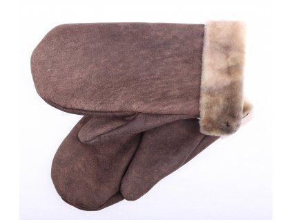 Dámské kožešinové palčáky PA88 Vintage hnědý povrch velur