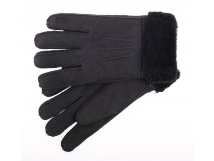 Kožešinové rukavice prstové PR65 černé velur vel. M/L černý vlas kožešiny