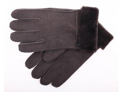 Kožešinové rukavice prstové PR67 šedé velur vel. M/L