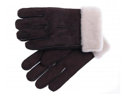 Kožešinové rukavice prstové PR68 hnědé velur vel. M/L světlý vlas kožešiny