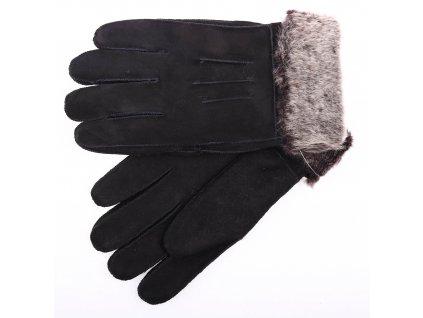 Kožešinové rukavice prstové PR69 černé velur vel. M/L melírovaný vlas kožešiny